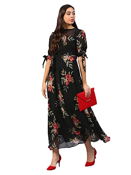8eaa80d1bbc69 Inddus Black printed flared Georgette Gown for Party and Evening Wear:  Amazon.in: Clothing & Accessories