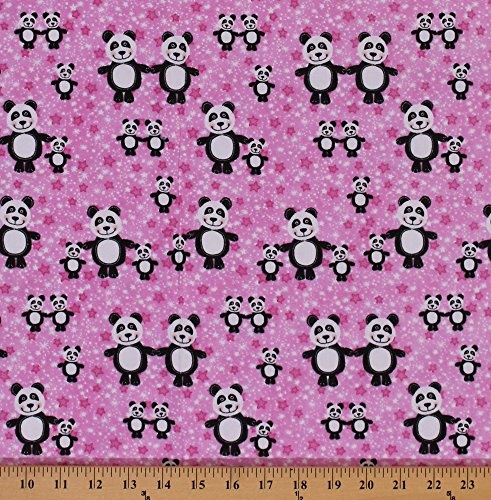 Flannel Panda Bears Bear Stars Star on Pink Panda Kids Flannel Fabric Print by the Yard (0516-22) - Panda Bear Fabric