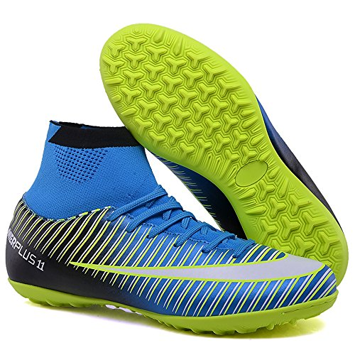 speedman Turf Soccer Cleats Mens Kids Superfly Cleats Youth Indoor High Ankle Football Boots Adults (Kids US2.5=EU31=20.5cm, Blue)
