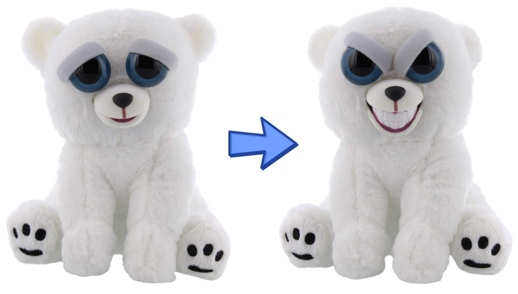 William Mark Feisty Polar Bear by Feisty Pets Expressions, Karl The Snarl, Grin - A Cute, Plush Stuffed Pet Animal That Grins with a Squeeze - Perfect Toys for Friendly Mischief by William Mark