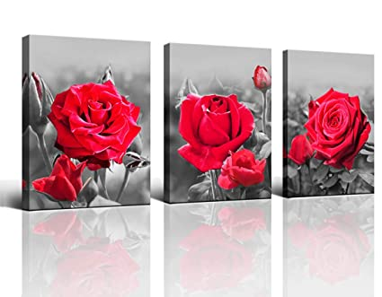 Wall Art Bedroom Simple Living Black And White Red Rose Flower Canvas Wall Art Deco 12 X 16 3 Piece Living Room Decoration Office Art Frame Canvas
