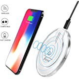 Wireless Charger, Zeee Qi Wireless Charging Pad for iPhone X, iPhone 8, iPhone 8 Plus, Samsung Galaxy S7 S8 Note 8 and More Qi Enabled Device Smartphones, AC Adapter Not Included