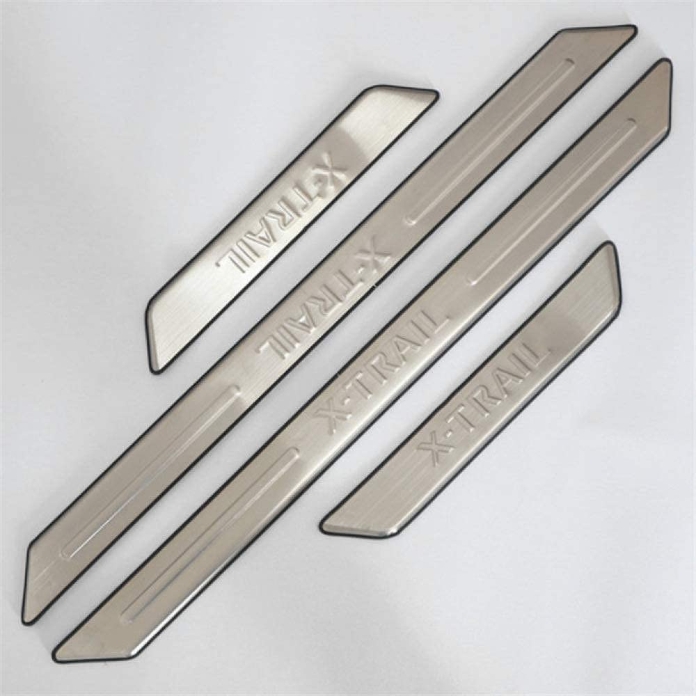 for Nissan X Trail T31 2008-2013 Welcome Pedal Kick Plates Scuff Threshold Bar Protective Decorate Foot Tread Stickers Strips BTSDLXX 4Pcs Auto Stainless Steel External Door Sills