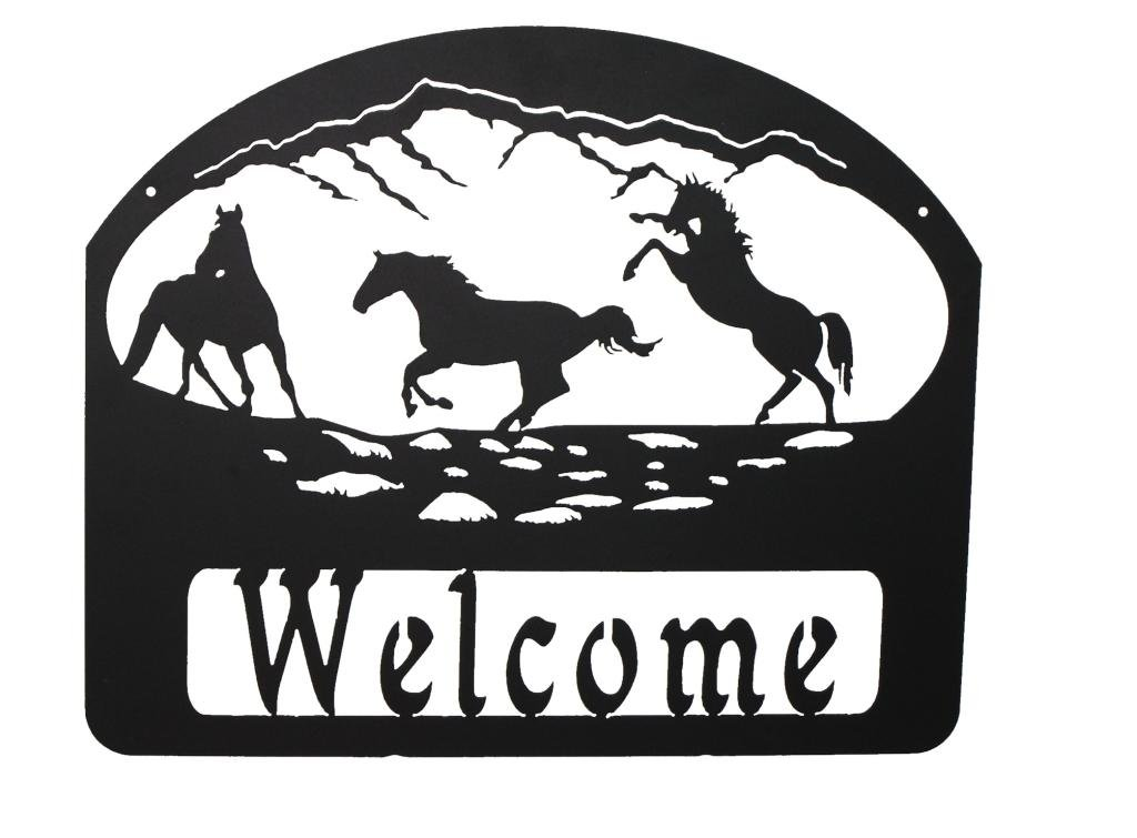 Mustard Seed Metal Worx Three Horse Welcome Sign