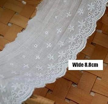Moderno bordado de algodón blanco con flores y encaje, cinta de ...