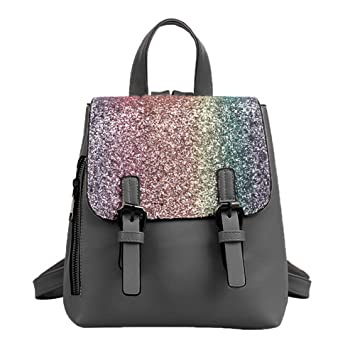 88f06f8314e2 OuYou Women Casual PU Leather Sequins Mini Backpack Ladies Handbag and Purse  Satchels Totes Travel Daypack