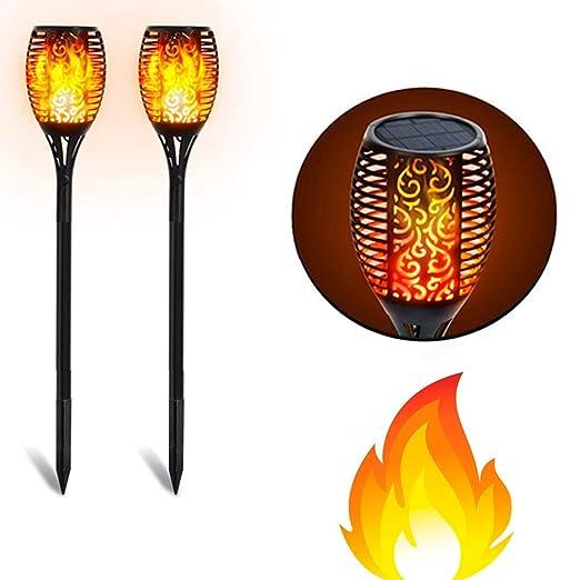 smartWIND Pack de 2 Lámpara Antorcha Tiki Luz Estaca Solar LED con Bombilla Llama Efecto Fuego