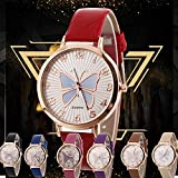 Women Quartz Watches COOKI Clearance Analog on Sale Butterfly Pattern Ladies Wrist Watches Girl Watches Leather Female Watches New-A296