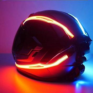 Bljs Motorradhelm Lichtleiste Motorradhelm Dekoration Zubehör Helle Lichtleiste Warnt Nachts Um Die Sicherheit Der Fahrer Zu Schützen Grün Sport Freizeit