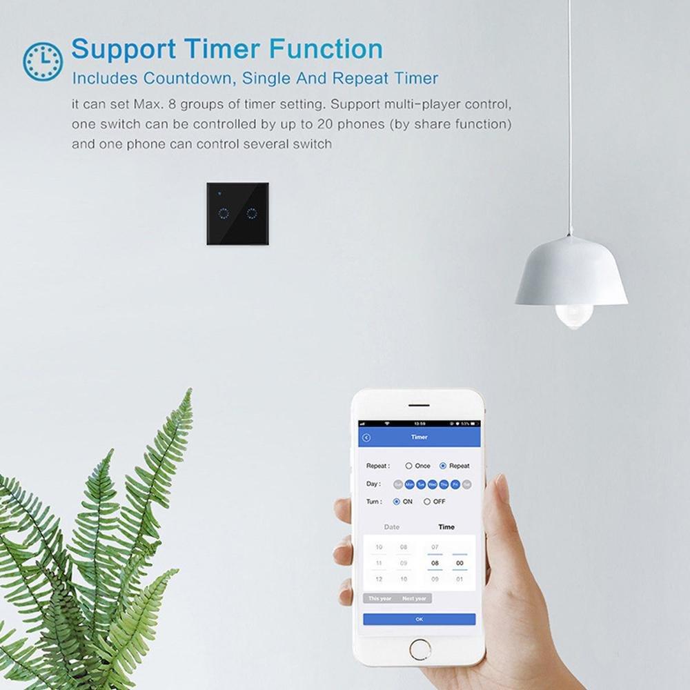 commande /à distance via l/'application Google Home d/'iOS Android et l/'application de contr/ôle eWeLink Nero1 avec connexion Wi-Fi Teepao Panneau tactile en verre