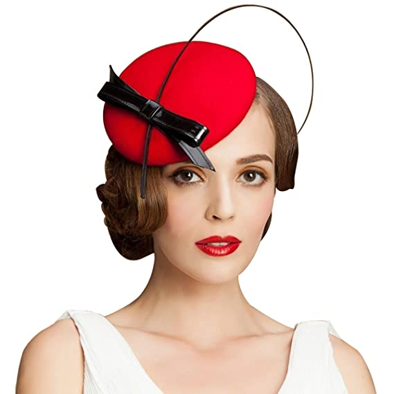 1950s Women's Hat Styles & History Lawliet Womens Bow Feather Felt Wool Fascinator Pillbox Tilt Cocktail Hat A144 $19.99 AT vintagedancer.com