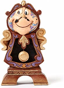 """Disney Traditions by Jim Shore """"Beauty and the Beast"""" Cogsworth Stone Resin Figurine, 4.25"""""""