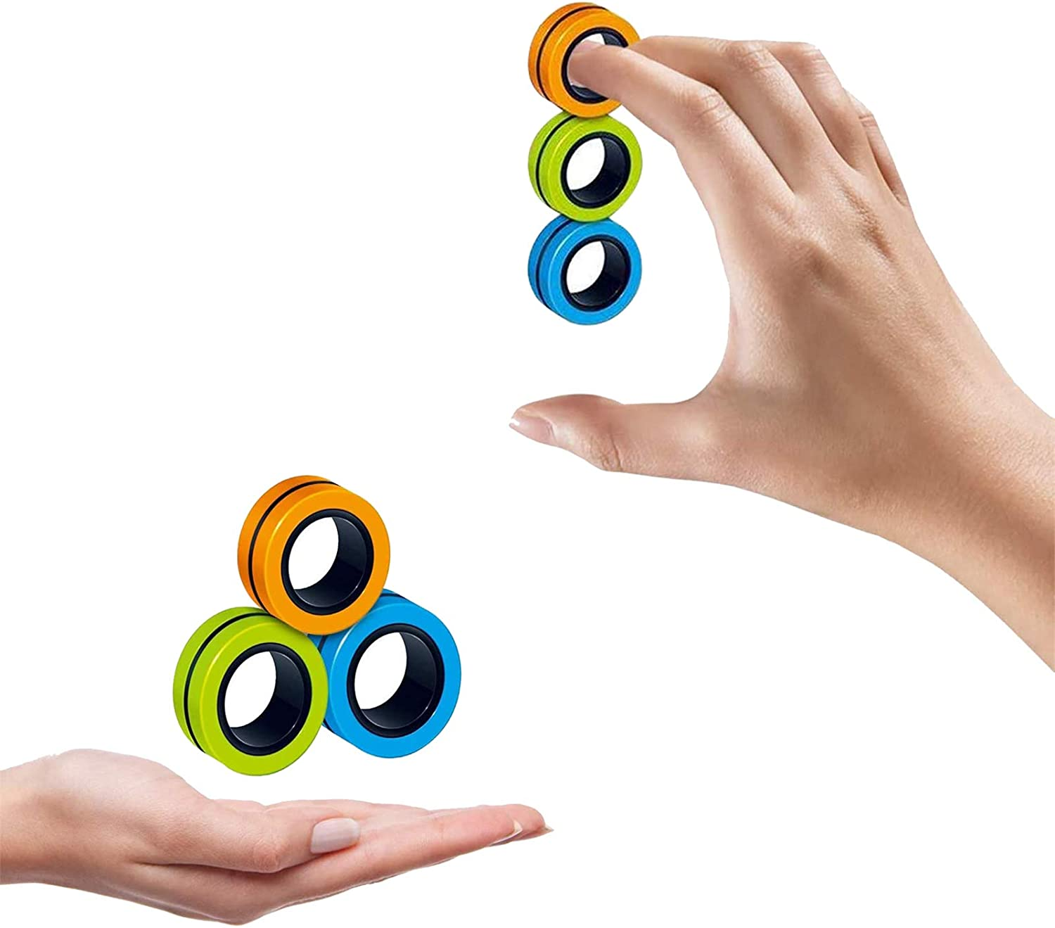 Upgraded Hand for Stress Relief Widesen Finger Magnetic Ring Magnet Toy Christmas /& Birthday Gift for Kids Magnetic Ring Fidget Toy .. Friends and Family Green Orange Blue