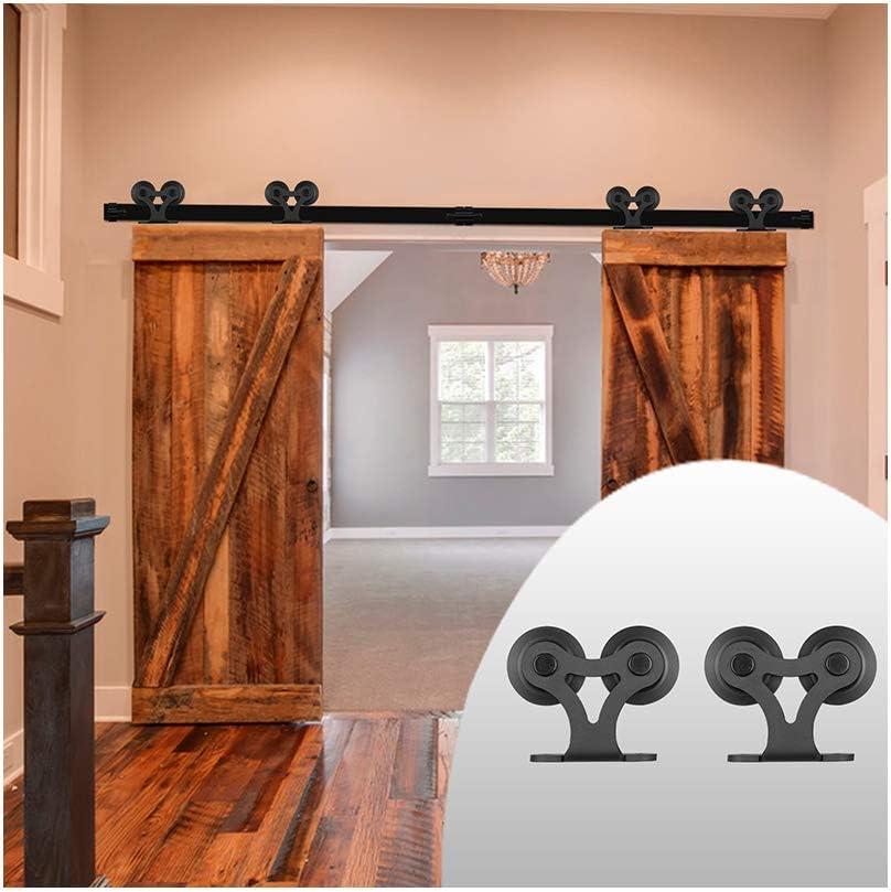 LWZH - Kit de riel para puerta corrediza de granero de 3 m para puerta doble en forma de T con dos perchas de rodillos (cada puerta mide 76,2 cm de ancho):