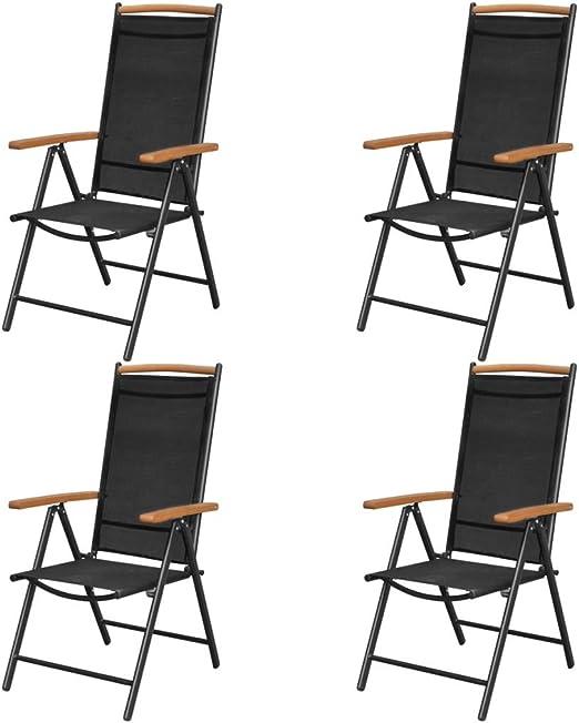 Festnight Juego Sillas Plegables de Aluminio y Textilene para Jardín, Terraza, Patio, Playa, Respaldo Reclinable (en 7 Posiciones), Negro 58 x 65 x 109 cm 4 uds: Amazon.es: Hogar