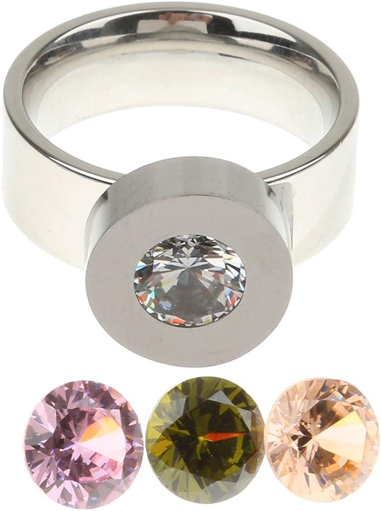 Anillo de Dedo Acero Inoxidable Intercambiables 4 Color Cristal Circón Nosotros