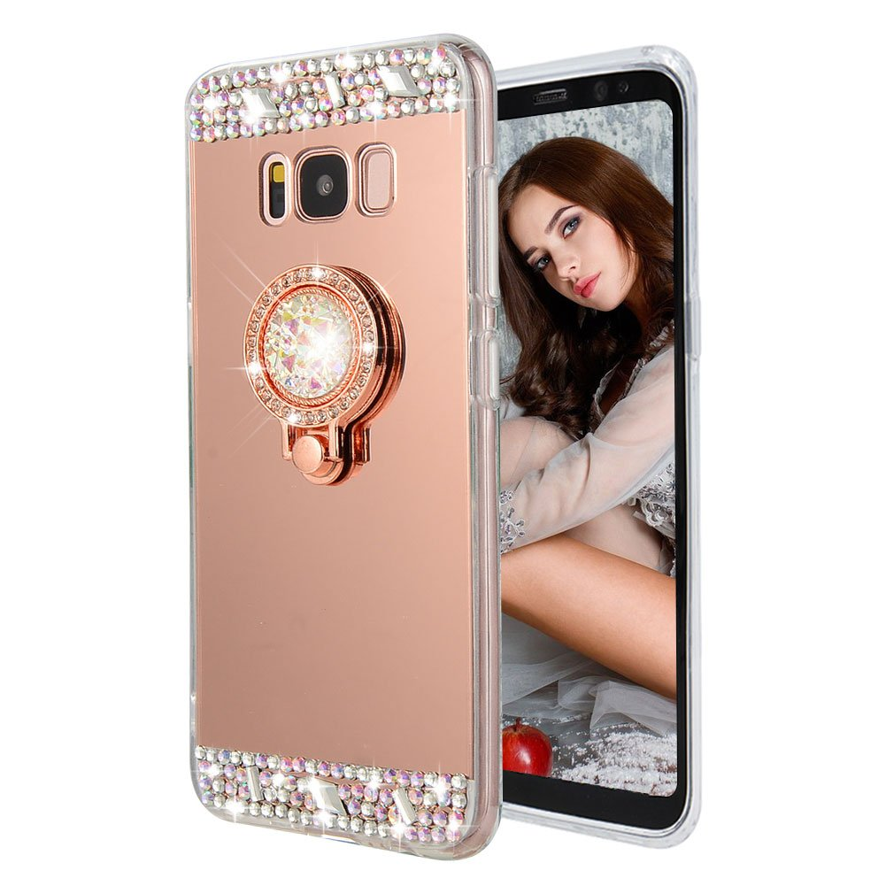 Cistor for Galaxy S8 Plus Mirror Case, Luxury Bling Diamond Soft TPU Rubber Makeup Case Cover Anti-Scratch Shockproof Protective Case with Ring Stand Holder for Samsung S8 Plus - Rose Gold Samsung Galaxy S8 Plus