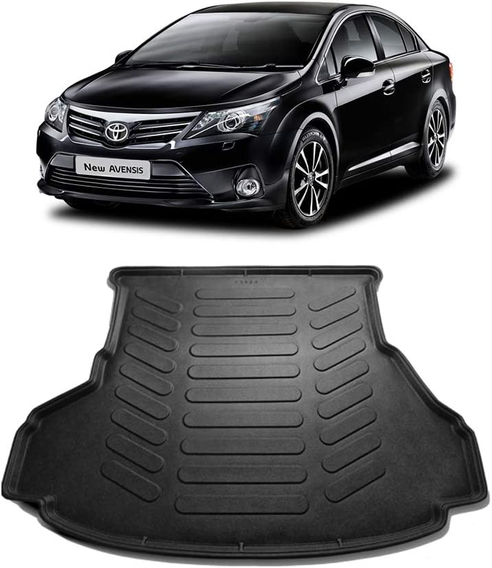 Car Mats Bespoke Avensis MK3 saloon boot mat liner tray protector 2009-2018 tailored fit black waterproof