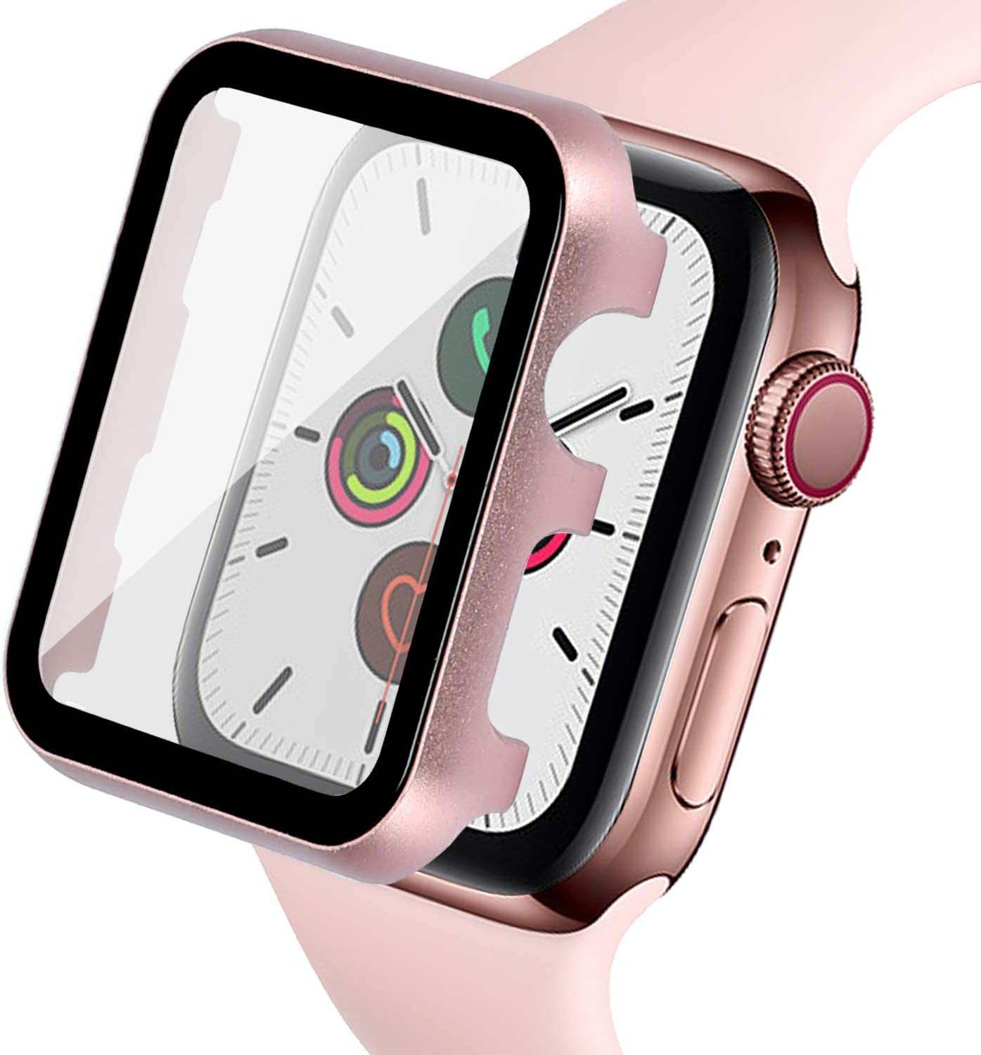 Ritastar for Apple Watch Cover 38mm with Screen Protector Series 3/2/1,Full Protection Aluminium Bumper Case and Thin Hard PET Protective Film,High Sensitive Touch,Impact Resistant,No Bubble,Rose Gold
