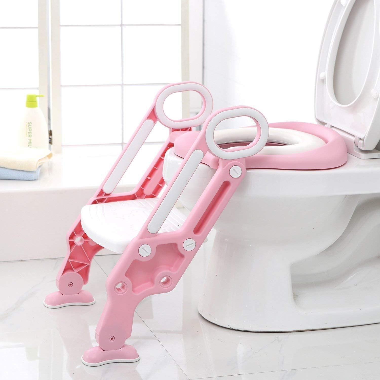Rose Lunette de Toilette Confortable Mat/ériaux de Haute Qualit/é Reducteur de Toilette B/éb/é avec Marches Larges Bamny Si/ège de Toilette Enfant Pliable et R/églable