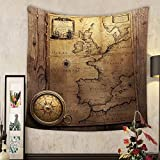 Jacquelyn A. Velasquez Custom tapestry old compass on vintage map france spain england portugal holland denmark author pierre du