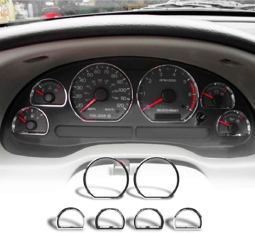 Chrome Speedometer Insturment Cluster Dashboard Gauges Rings Bezel Trim for 94-04 Ford Mustang