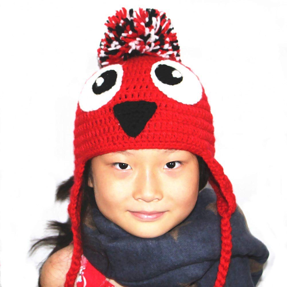 BIBITIME Knit Owl Hat Pom Beanie Braid Earflap Adult//Kid//Baby,3 Sizes Winter Cap
