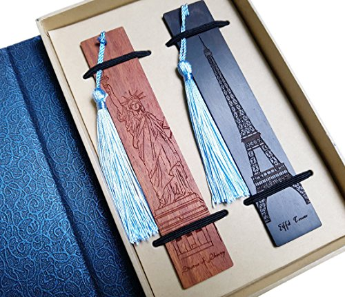Melyaxu, Eiffel Tower and Statue of Liberty Engraved Wooden Bookmark with Tassel