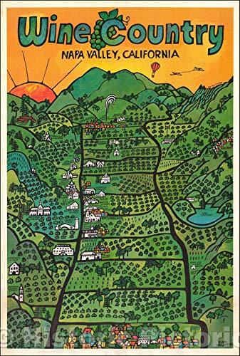 Historic Map | Wine Country Napa Valley, California, 1971, Earl Thollander | Vintage Wall Art 30in x 44in