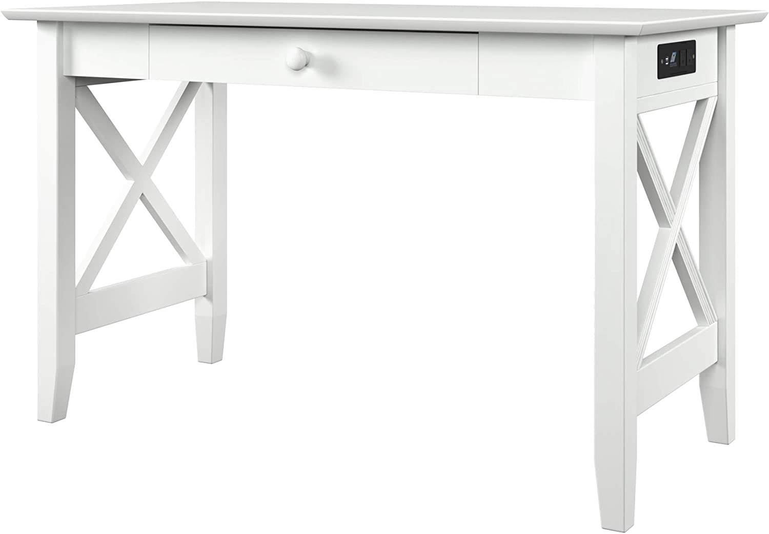 Atlantic Furniture Lexi Desk with Drawer and Charging Station, White