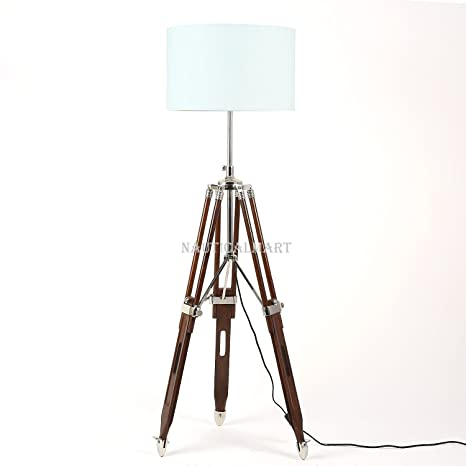 Nautical Tripod Wooden Floor Lamp Base Only Natural Finish