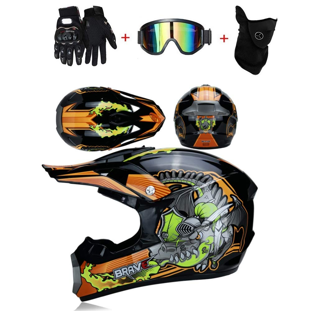 Beruf Motocross Helm Off Road Helm Racing Downhill Racing Helm Cross Helm Motocross Mit Brille Maske Handschuhe Endurance Race Gr/ö/ße S-XL