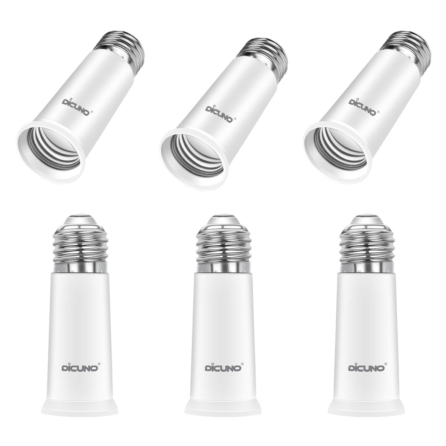 DiCUNO E26 Socket Extender, E26 to E26 Standard Medium Base, 6.5CM/2.56IN Extension Socket Adapter, Max 200W Light Bulb Extender 6 Pcs