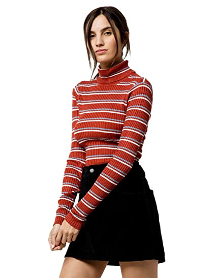 4b20928e1d169 Sky and Sparrow Allover Stripe Mock Neck Rust Top at Amazon Women s Clothing  store