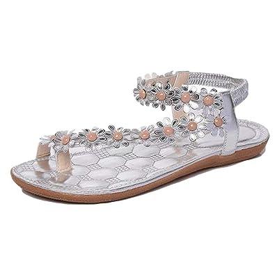 498290c479f6e9 Halijack Women s Summer Sandals Boho Folk Rhinestone Flower Clip Toe Sandals  Elastic T-Strap Round Toe Flat with Sandals Casual Beach Flip Flops Flat  Party ...