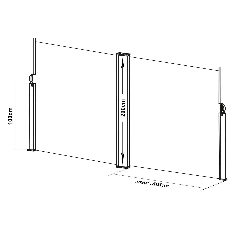 Color Antracite Blumfeldt Bari 316 Tenda a Rullo Laterale Alluminio 300x160 cm, Struttura Robusta, Kit di Montaggio Incluso