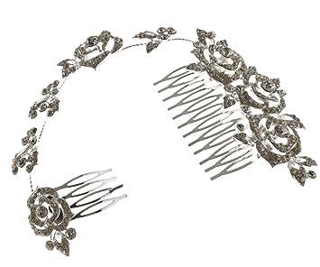 Amazon Com Fashion Crystal Rose Rhinestone Bridal Party Prom Hair