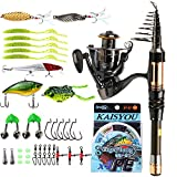 Sougayilang Fishing Rod Reel Combos Mini Spinning Portable Pocket Telescopic Fishing Pole Reel Line Lures Accessories Combo For Travel Saltwater Freshwater Fishing