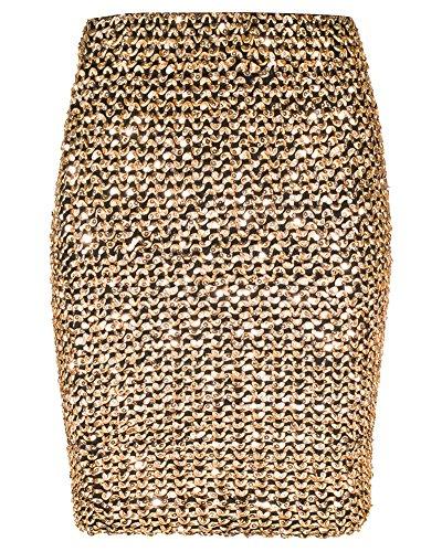 FLECTIT Womens Sexy Shining Glitter Sequin Mini Skirt Elastic Bandage Bodycon Hobble Pencil Skirts (One Size, Gold) -