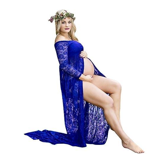 Siswong Vestido Embarazada Encaje Elegante Mujer Shoulder Off Manga Corta de Fiesta para Bodas (S, Azul Oscuro): Amazon.es: Ropa y accesorios