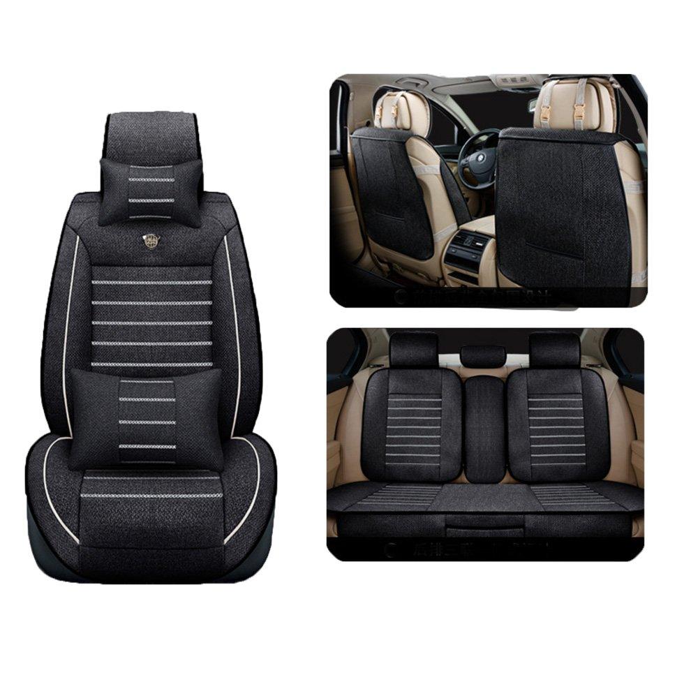 Binglinghua Auto Car Seat Cover Linen Seats Front & Rear With Neck Lumbar Pillow (black)