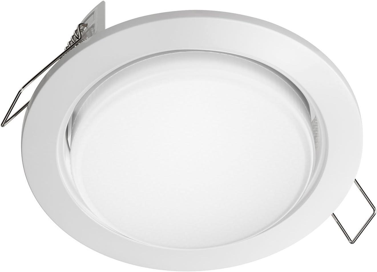 ledscom.de LED Einbaustrahler Zobe flach GX53 wei/ß rund 4W=28W 280lm warm-wei/ß 107mm /Ø Lochkreis 90mm /Ø