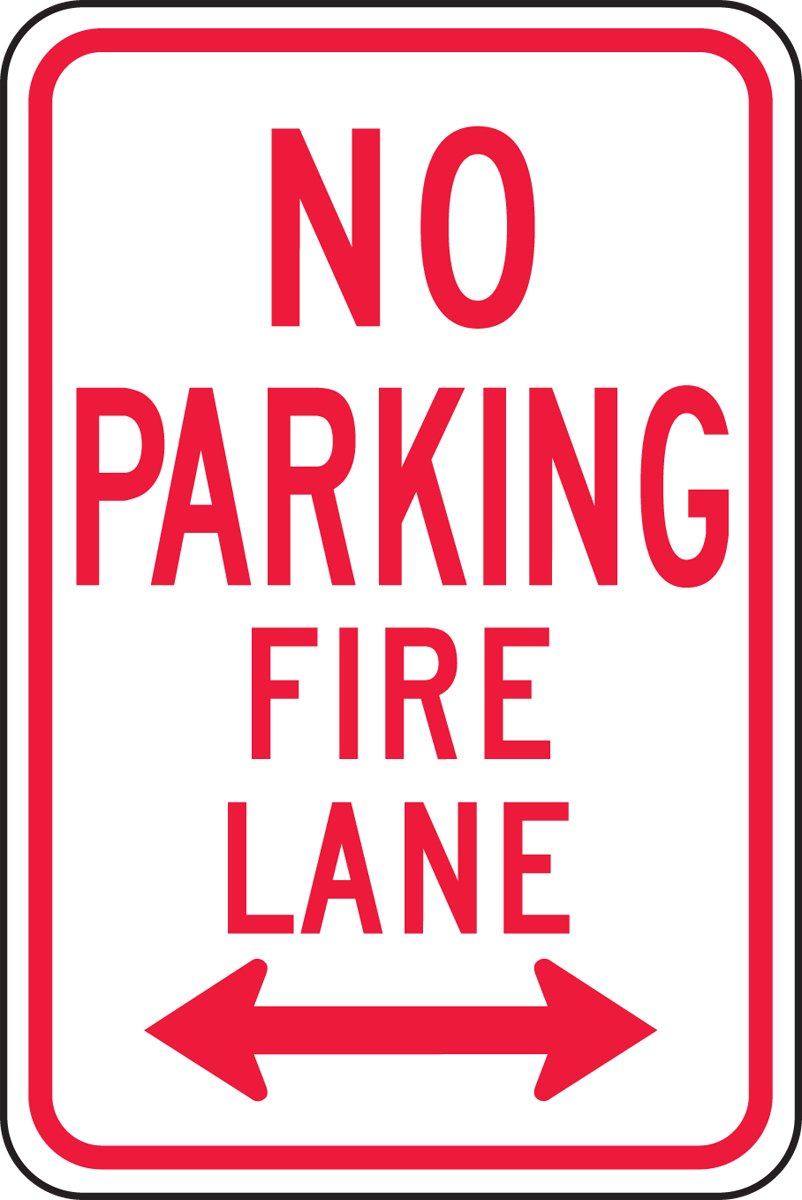 18 Length x 12 Width x 0.080 Thickness LegendNO PARKING FIRE LANE DOUBLE ARROW Accuform FRP127RA Engineer-Grade Reflective Aluminum Parking Sign 18 Length x 12 Width x 0.080 Thickness Red on White LegendNO PARKING FIRE LANE DOUBLE ARROW