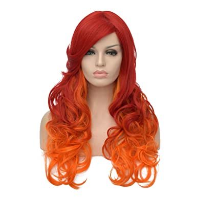 Amazon Com Oyixu 65cm 25 5 Synthetic Orange Red Ombre Women Party