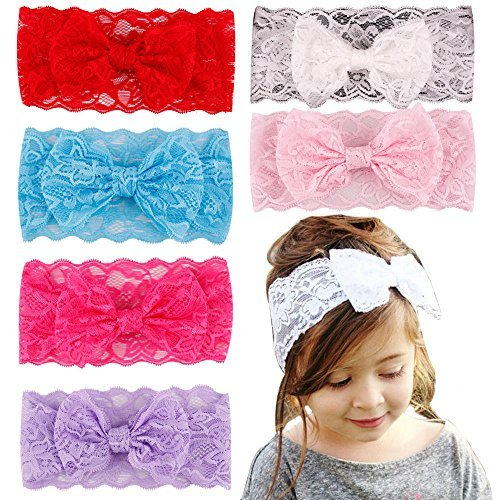 [Kids Girl Baby Headband hair 7PCS Bow Flower Accessories Headwear Toddler Lace Gift Rabbit Headwrap] (Diy Family Costumes)