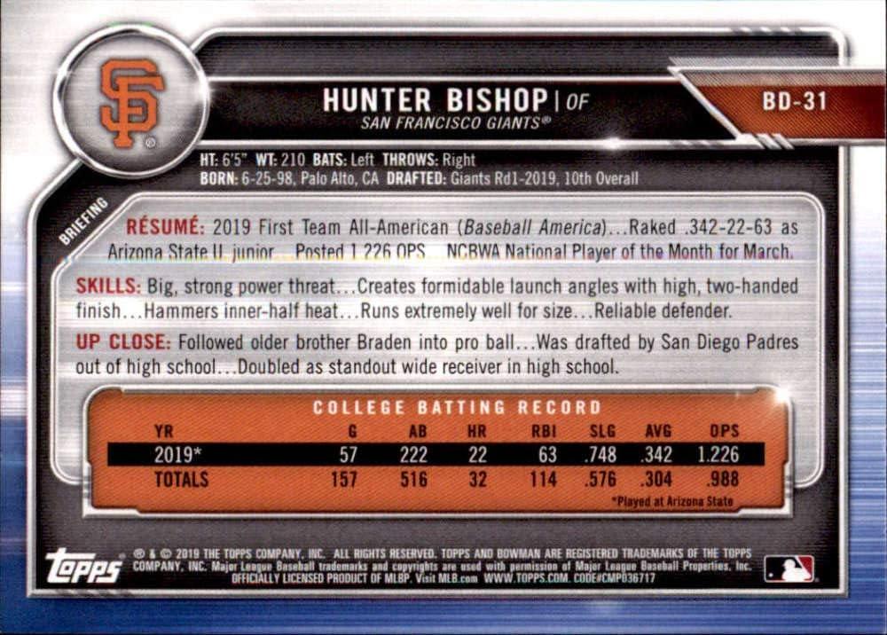 2019 Bowman Draft #BD-31 Hunter Bishop RC Rookie San Francisco Giants MLB Baseball Trading Card