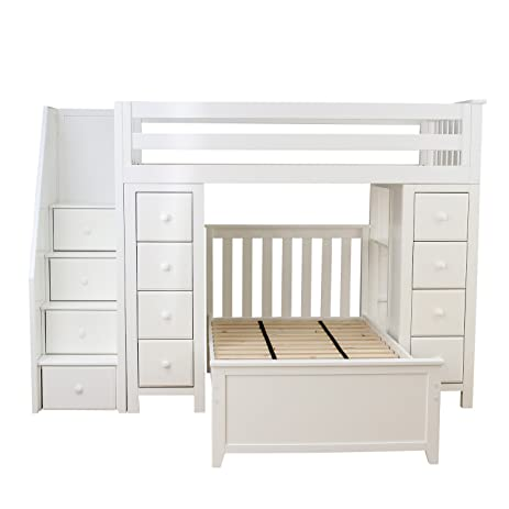 Plank Beam Staircase Combo Loft Bed Dresser Over Twin White