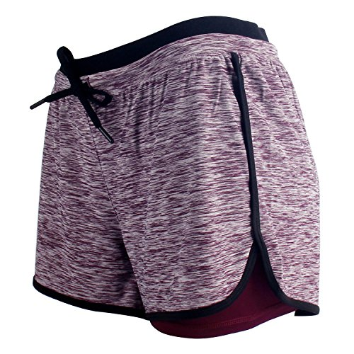 RIBOOM Women Workout Fitness Running Shorts, Double Layer Elastic Waistband Sport Shorts Medium Violet