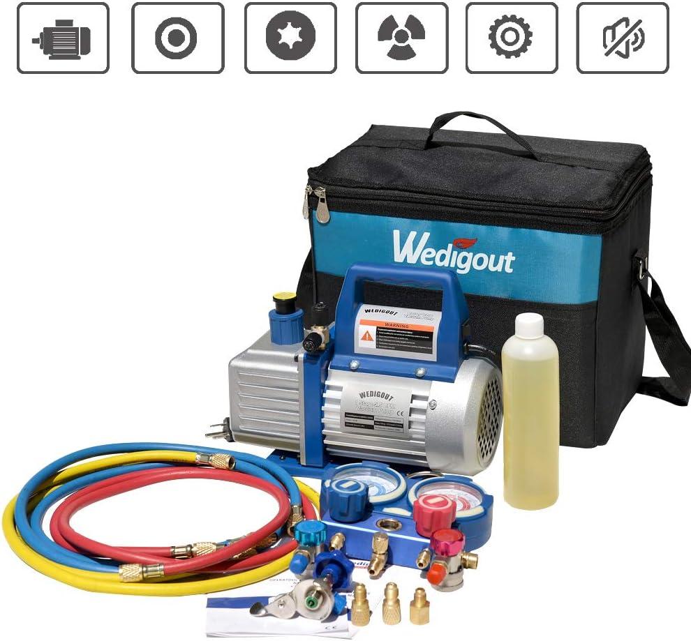 Wedigout AC Repair Tool Kit with 1-Stage 4.5 CFM Air Vacuum Pump and R410A AC Manifold Gauge Set for Mini Split//HVAC//AUTO AC Air Conditioning 4.5CFM Air Vacuum Pump /& Manifold Gauge Set