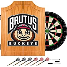 NCAA Ohio State University Wood Dart Cabinet Set by Trademark Gameroom